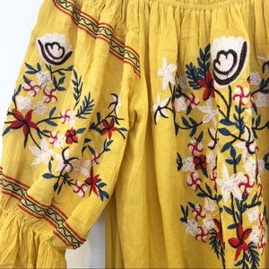 Yellow Off The Shoulder Embroidered Bohemian Dress